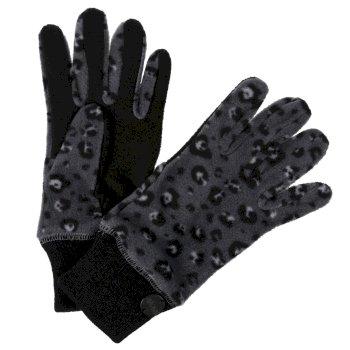 Azni bedruckte Fleece-Handschuhe für Damen Schwarz