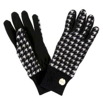 Azni - Damen Fleece-Handschuhe mit Print Schwarz/Hahnentrittmuster