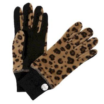 Azni bedruckte Fleece-Handschuhe für Damen Natürlich