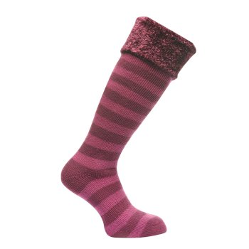 Women's Fur Collar Wellington Socks - Blackcurrant Vivid Viola