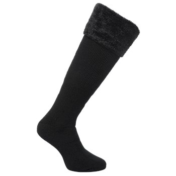 Regatta Women's Fur Collar Wellington Socks - Black