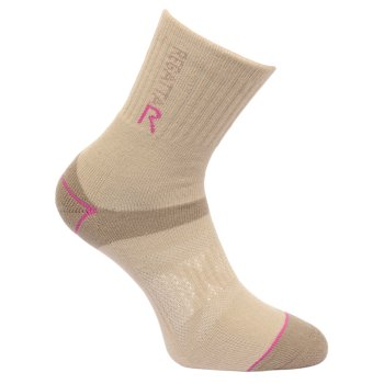 Regatta Women's Two Layer Blister Protection Socks - Taupe Vivid Viola