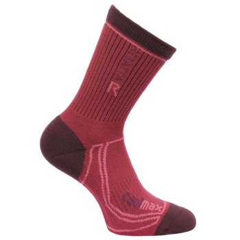 Regatta Women's 2 Season Coolmax Trek & Trail Socks - Dark Burgundy Dark Pimento
