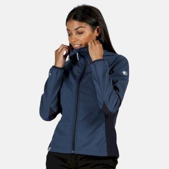 Arec II Damen-Softshelljacke In Stretch-Qualität Mit Kapuze Blau