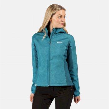 Arec II Damen-Softshell-Jacke in Stretch-Qualität mit Kapuze Blau