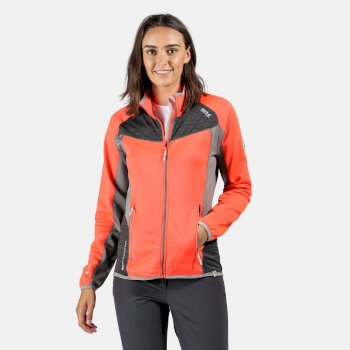 Yare Damen-Softshelljacke aus Strick-Stretch Fiery Coral Rock Grey