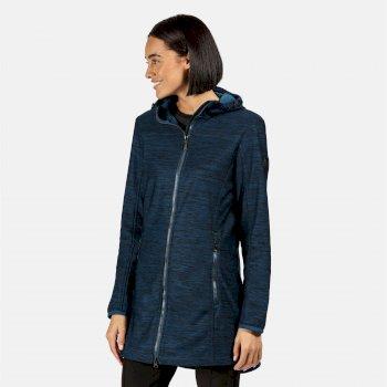 Alerie lang geschnittene, windbeständige Softshell-Jacke mit Kapuze für Damen Blau