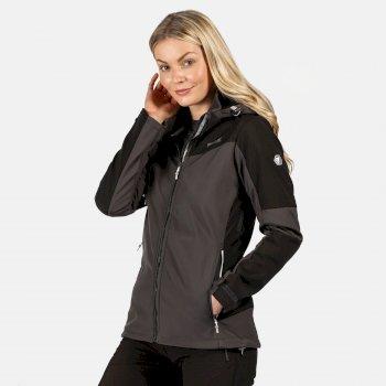 Desoto VI wasserdichte, winddichte Softshell-Jacke mit Kapuze für Damen Schwarz