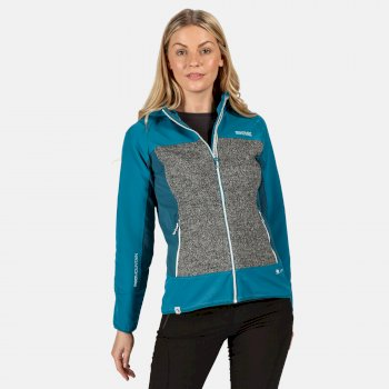 Garn winddichte Softshell-Jacke mit Kapuze für Damen Blau