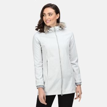 Sunaree Softshell-Damenjacke mit Pelzbesatz und Kapuze Grau