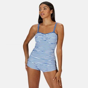 Regatta Women's Aceana II Tankini Top - Strong Blue Stripe