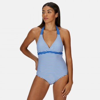 Regatta Women's Flavia Swimming Costume - Strong Blue Stripe