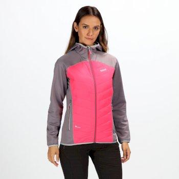 Andreson IV - Damen Hybridjacke - Kapuze - leicht Rock Grey Neon Pink