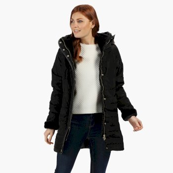 Regatta Women's Patchouli Quilted Long Length Hooded Jacket - Black
