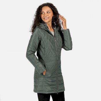Parmenia isolierte, gesteppte Parkajacke mit Kapuze für Damen Grün