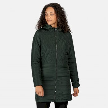Regatta Women's Parmenia Insulated Quilted Hooded Parka Jacket - Darkest Spruce