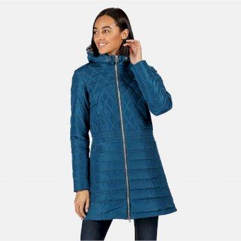 Parmenia isolierte, gesteppte Parkajacke mit Kapuze für Damen Blau