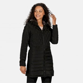 Regatta Women's Parmenia Insulated Quilted Hooded Parka Jacket - Black