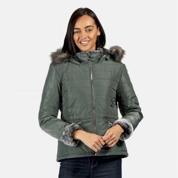 Westlynn isolierte, gesteppte Jacke mit Kapuze mit Pelzbesatz für Damen Grün