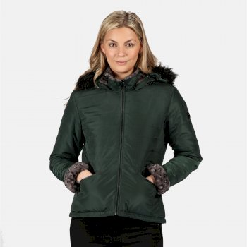 Regatta Women's Westlynn Insulated Quilted Fur Trimmed Hooded Jacket - Darkest Spruce