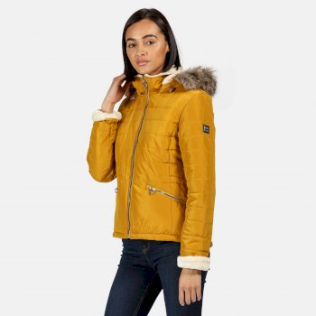 Regatta Women's Westlynn Insulated Quilted Fur Trimmed Hooded Jacket - Mustard Seed