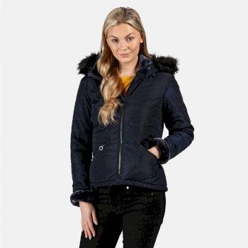 Westlynn isolierte, gesteppte Jacke mit Kapuze mit Pelzbesatz für Damen Blau
