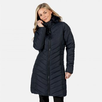 Regatta Women's Fritha Insulated Quilted Fur Trimmed Hooded Parka Jacket - Navy