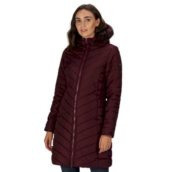 Kimberley Walsh Fritha Insulated Quilted Fur Trimmed Hooded Parka Jacket - Dark Burgundy
