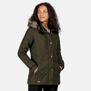Zella isolierte, gesteppte Jacke mit Kapuze mit Pelzbesatz für Damen Grün
