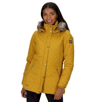 Zella isolierte, gesteppte Jacke mit Kapuze mit Pelzbesatz für Damen Gelb