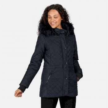 Regatta Women's Zella Insulated Quilted Fur Trimmed Hooded Jacket - Navy