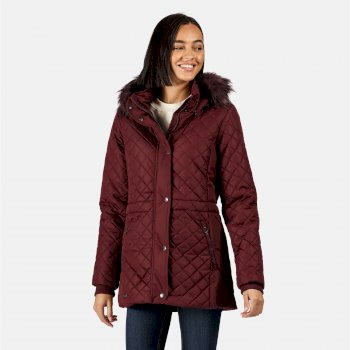Regatta Women's Zella Insulated Quilted Fur Trimmed Hooded Jacket - Dark Burgundy