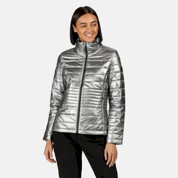 Kimberley Walsh Lustel Lightweight Insulated Quilted Walking Jacket - Pewter Metallic