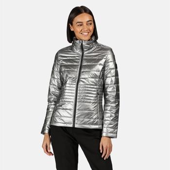 Lustel leichte, isolierte, gesteppte Walkingjacke für Damen Silber