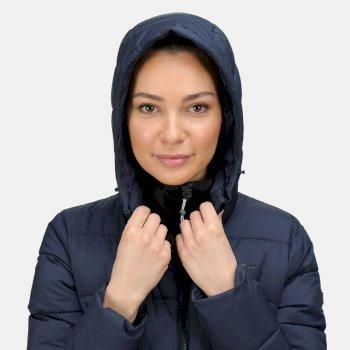 Pandia isolierte, gefütterte Parka-Wanderjacke mit Kapuze für Damen Blau