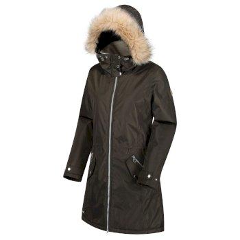 Women's Lexia Long Length Waterproof Insulated Parka Jacket Dark Khaki