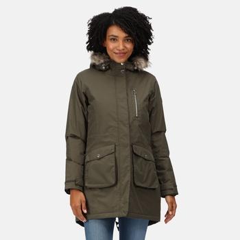Women's Serleena Fur Trimmed Waterproof Insulated Parka Jacket Dark Khaki