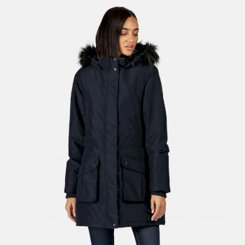 Regatta Women's Sefarina Waterproof Insulated Fur Trimmed Hooded Parka Jacket - Navy