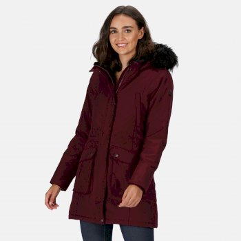 Kimberley Walsh Sefarina Waterproof Insulated Fur Trimmed Hooded Parka Jacket - Dark Burgundy