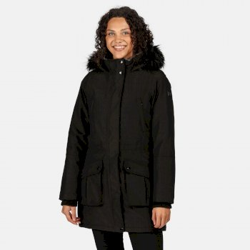 Regatta Women's Sefarina Waterproof Insulated Fur Trimmed Hooded Parka Jacket - Black