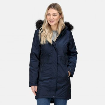 Regatta Women's Lexis Waterproof Insulated Fur Trimmed Hooded Parka Jacket - Navy