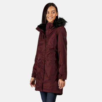 Regatta Women's Lexis Waterproof Insulated Fur Trimmed Hooded Parka Jacket - Dark Burgundy