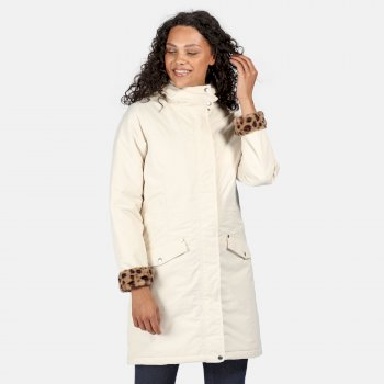 Kimberley Walsh Rimona Waterproof Insulated Hooded Parka Jacket - Light Vanilla