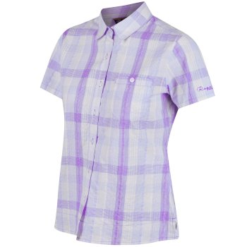 Regatta Jenna II Coolweave Cotton Checked Shirt - Paisly Purple
