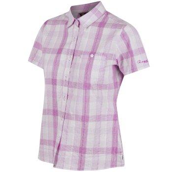 Regatta Jenna II Coolweave Cotton Checked Shirt - Neon Peach