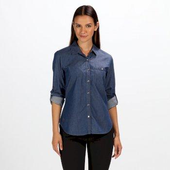 Merrial Langarm-Damenshirt dunkelblau