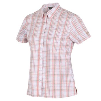 Jenna III kariertes Kurzarm-Shirt für Damen beige