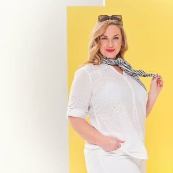 Maelie langgeschnittenes Shirt mit halber Knopfleiste für Damen Weiß