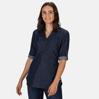 Maelie langgeschnittenes Shirt mit halber Knopfleiste für Damen Grau