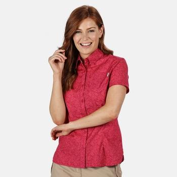 Honshu IV bedrucktes Kurzarmhemd für Damen Rosa